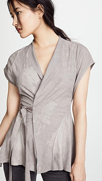 Rick Owens Lilies Leather Kimono Blouse
