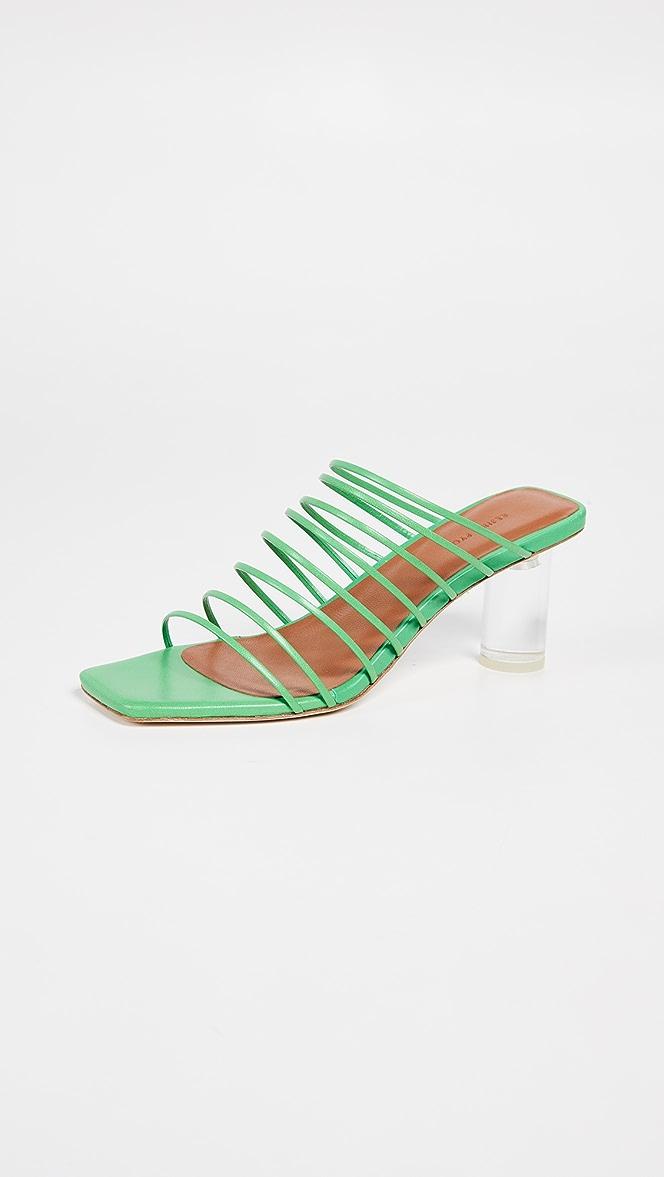 Zoe Sandals Leather Green – REJINA PYO