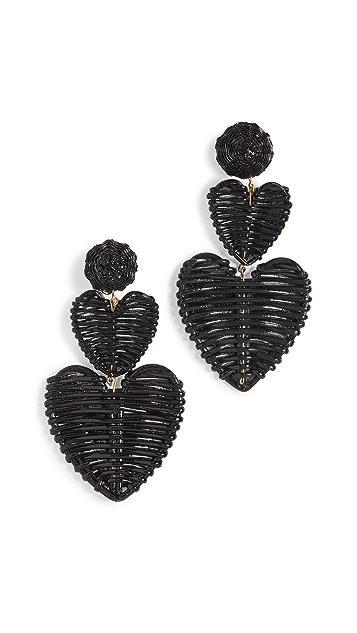 Rebecca De Ravenel Wicker 3 Drop Heart Earrings