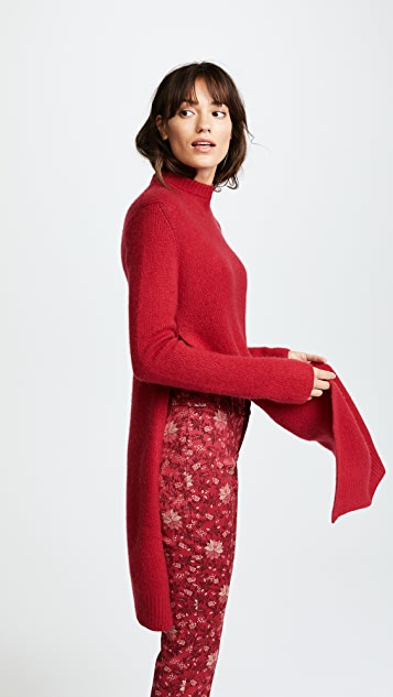 Ryan Roche Side Slit Long Sweater