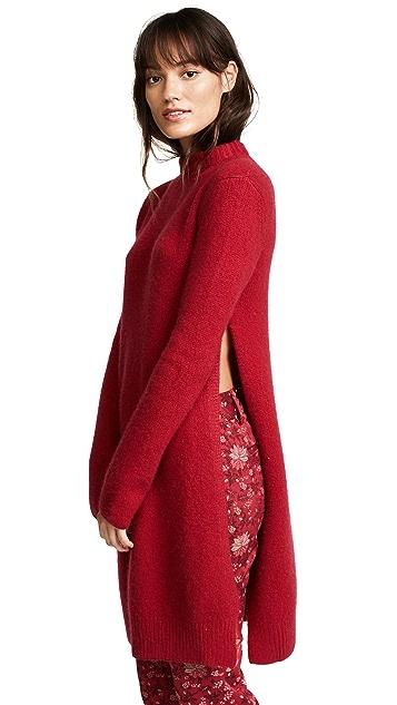 Ryan Roche Side Slit Long Sweater