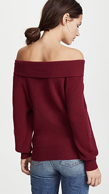 Ryan Roche Off Shoulder Cashmere Sweater
