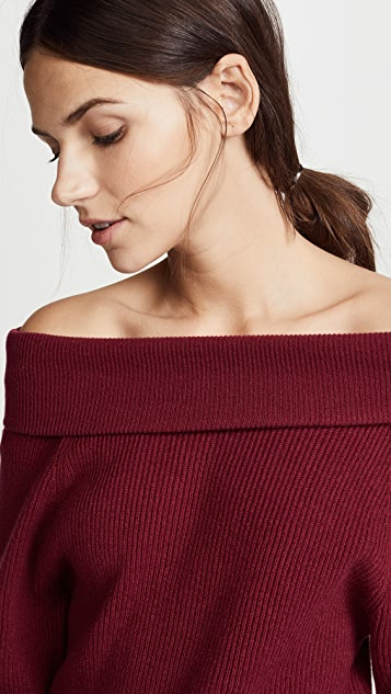 Ryan Roche Off Shoulder Cashmere Sweater