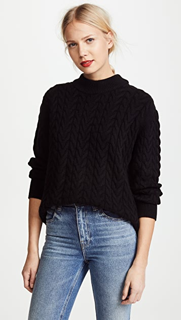 Ryan Roche Mock Neck Cashmere Fisherman Sweater