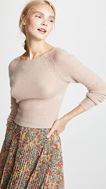 Ryan Roche Cropped V Neck Raglan Cashmere Sweater