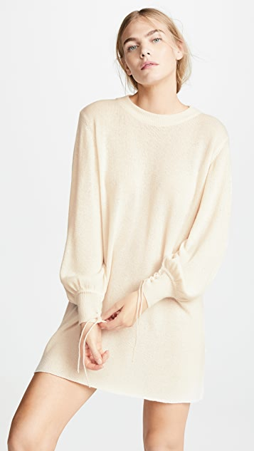 Ryan Roche Oversized Sweater Dress with Lace Cuffs
