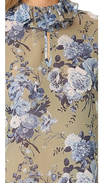 Robert Rodriguez Floral Bouquet Ruffle Collar Blouse