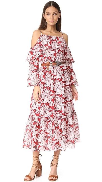 Robert Rodriguez Printed Ruffle Off Shoulder Dress