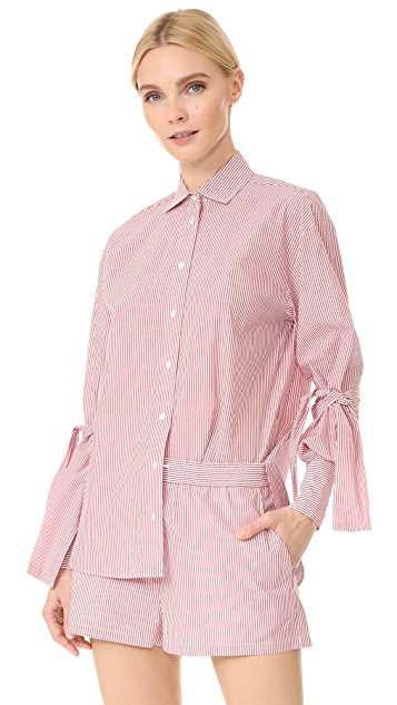 Robert Rodriguez Striped Peplum Sleeve Shirt