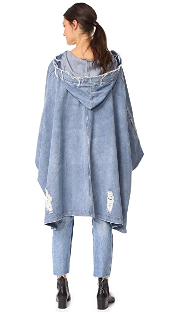 Robert Rodriguez Soft Denim Hooded Cape
