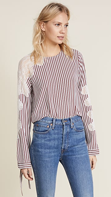 Robert Rodriguez Lace Inserted Stripe Blouse