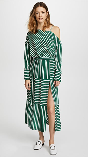 Robert Rodriguez Large Stripe Cold Shoulder Dress