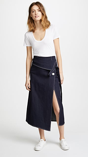 Robert Rodriguez Denim Wrap Skirt