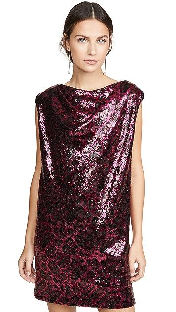 RtA Stevie Sequined Cowl Neck Dress