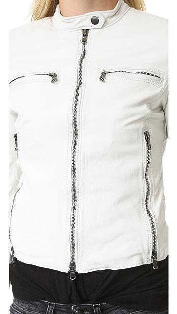 R13 Байкерская кожаная куртка Cafe