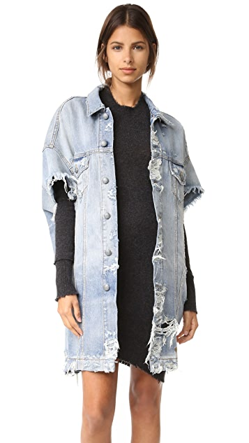 R13 Cutoff Sleeve Trucker Jacket