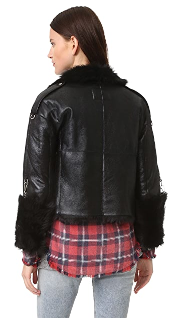R13 Reversible Shearling Moto Jacket