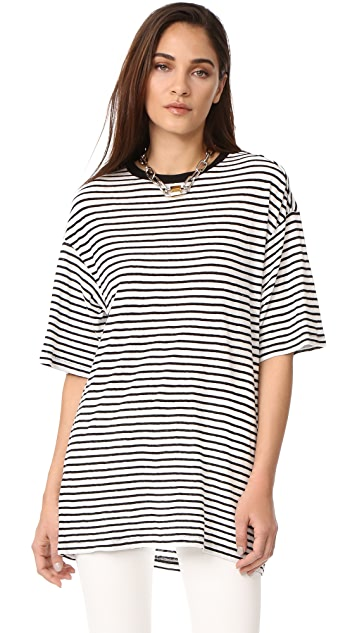 R13 Oversized Striped Boyfriend Tee