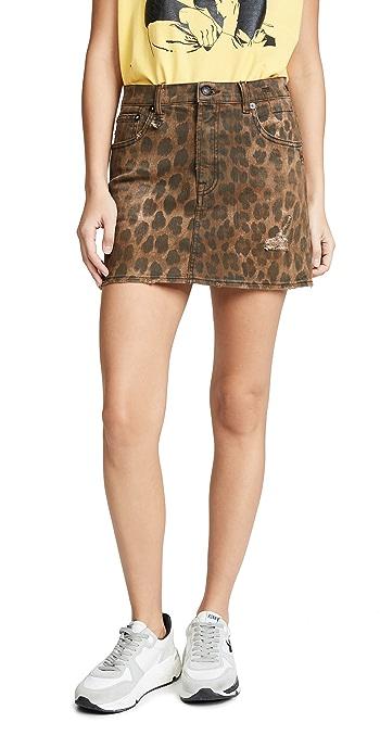 R13 High Rise Miniskirt - Leopard Wash