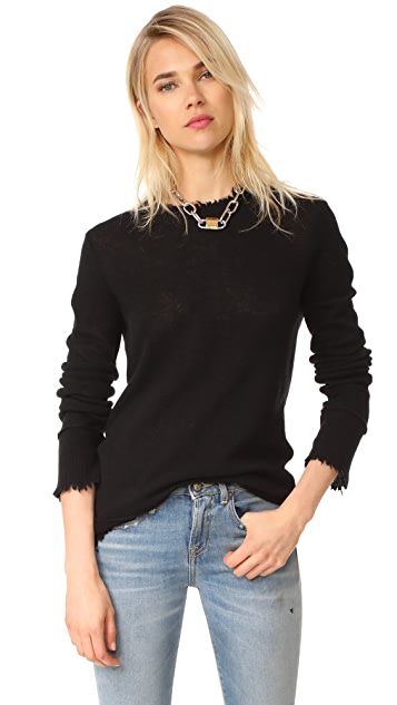 R13 Distressed Edge Cashmere Sweater