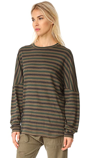 R13 Striped Drop Shoulder Tee