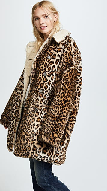 R13 Leopard Hunting Faux Fur Coat