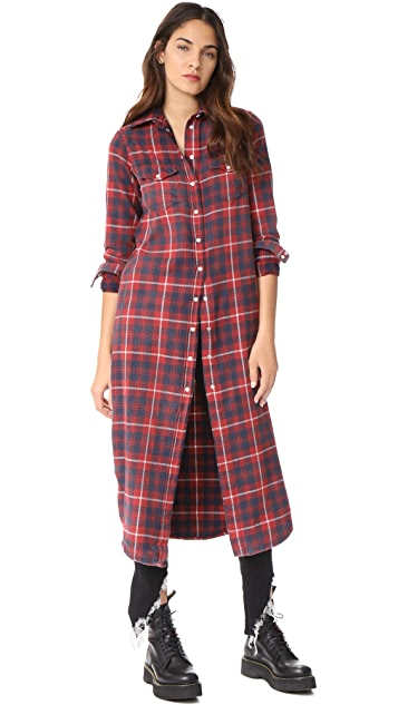 R13 Long Cowboy Shirtdress