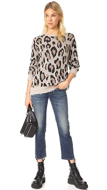 R13 Кашемировый свитер с леопардовым рисунком