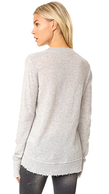 R13 Distressed Edge V Neck Sweater