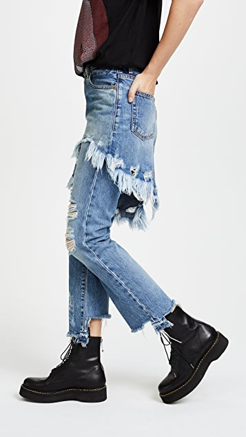 R13 Double Classic Skirted Jeans