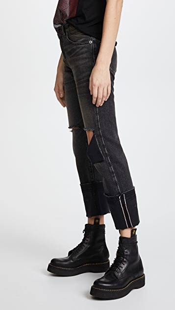 R13 Bowie Cuff High Rise Straight Jeans