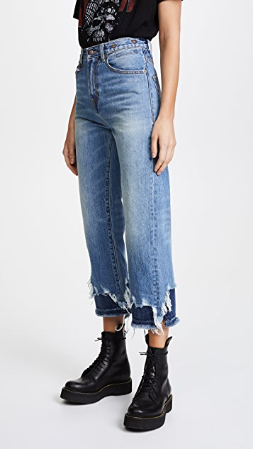 R13 High Rise Camile Double Shredded Jeans