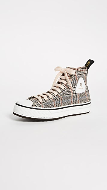 R13 Plaid Twill High Top Sneakers