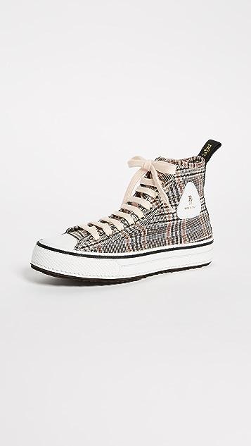 R13 Plaid Twill High Top Sneakers - Orange Plaid