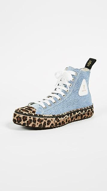 R13 Re Purposed Denim High Top Sneakers