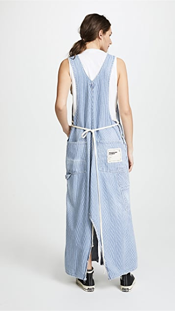 R13 Refurbished Railroad Stripe Overall Dress