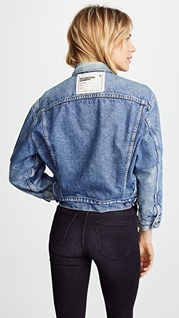 R13 Refurbished Cropped Trucker Jacket