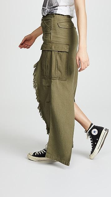 R13 Shredded Long Surplus Skirt