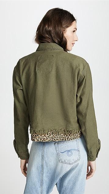R13 Leopard Cropped Utility Jacket
