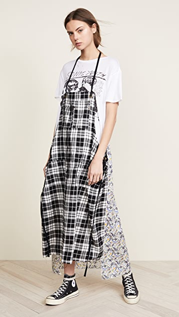 R13 Apron T-Shirt Dress - Black Plaid/Floral Combo