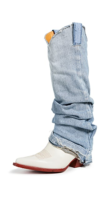 R13 Cowboy Boots with Denim Sleeve