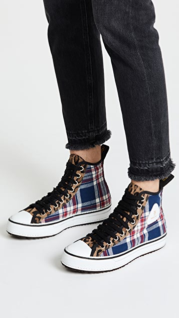 R13 High Top Cotton Sneakers