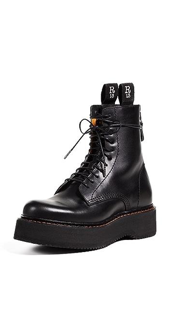 R13 Platform Combat Boots - Black