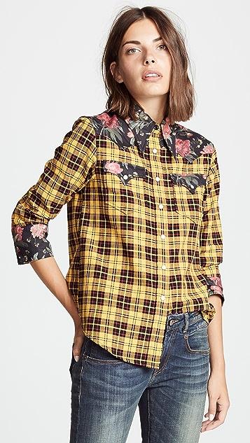 R13 Exaggerated Collar Cowboy Shirt