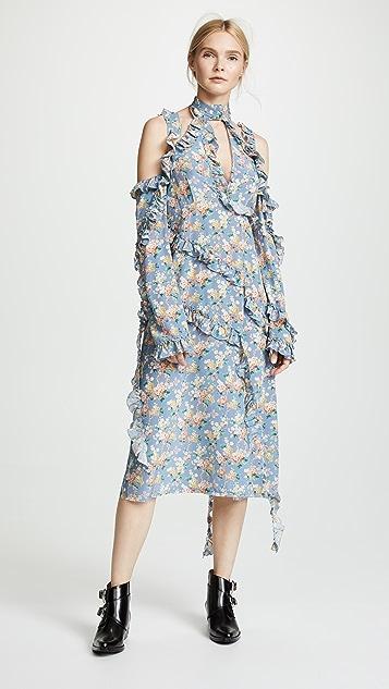 R13 Floral Ruffle Dress