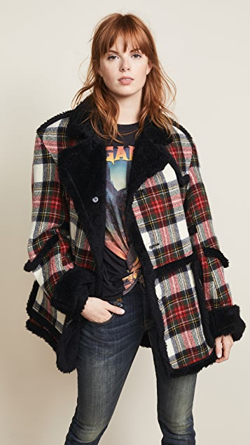R13 Plaid Coat with Sherpa Trim