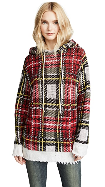 R13 Plaid Cashmere Hooded Sweater