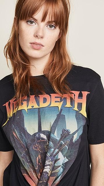 R13 Футболка Megadeth с перекрученной отделкой спереди