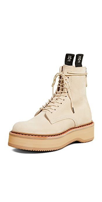 R13 Single Stack Suede Boots - Tan