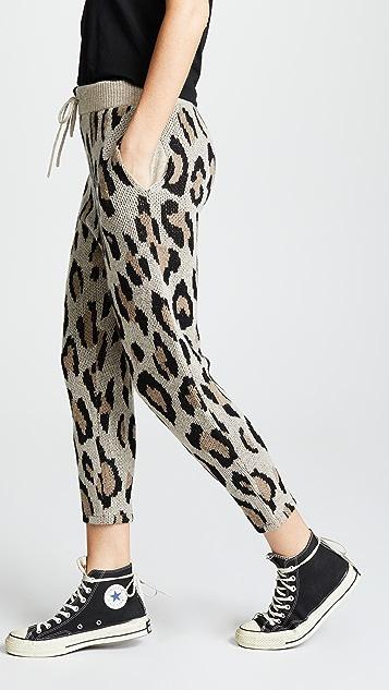 R13 Кашемировые брюки с леопардовым принтом